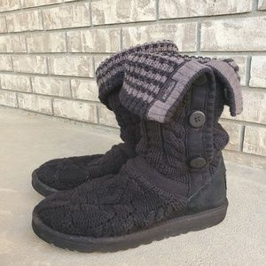 UGG Leland knit black gray boots women's button